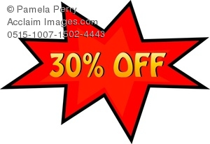 300x206 Clip Art Image Of A Price Cut Of 10% Off In A Starburst Shape