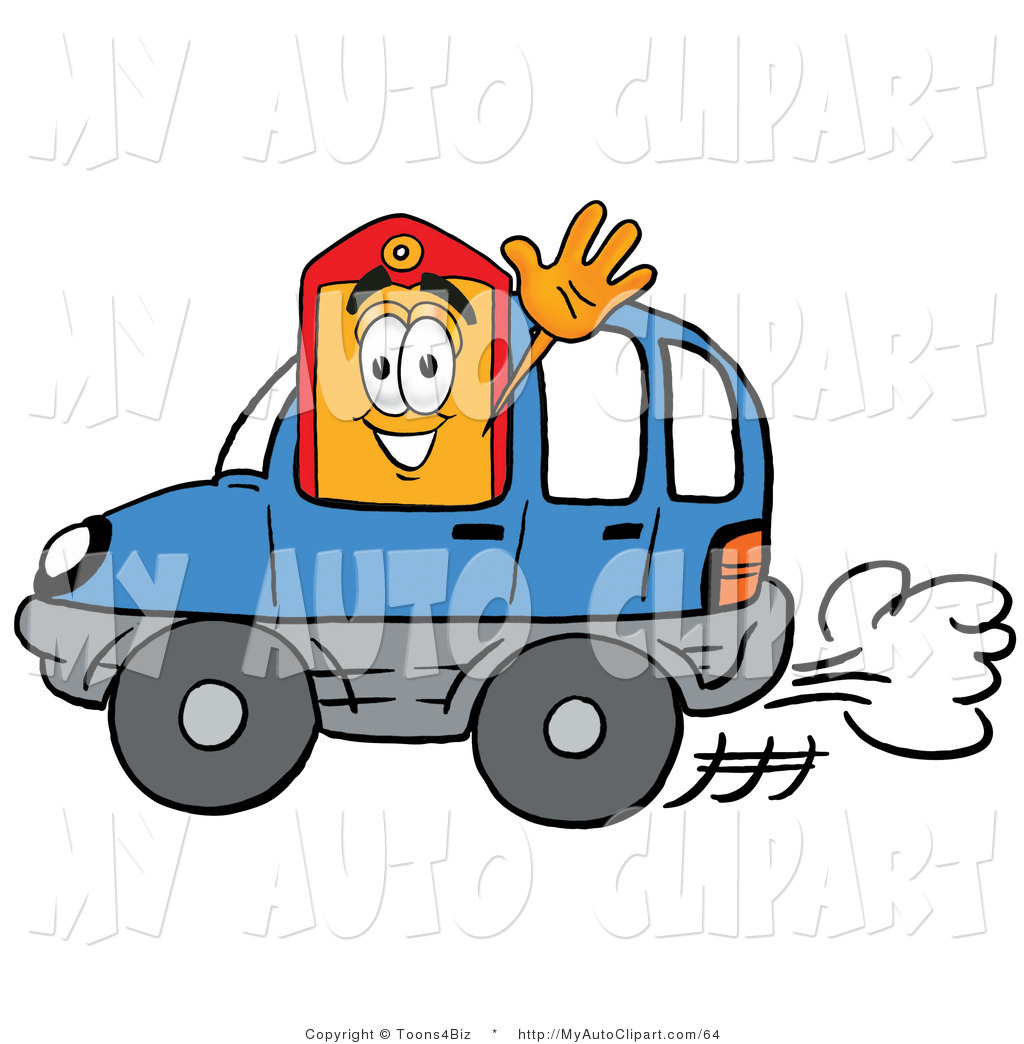 1024x1044 Clip Art Of A Clearance Price Tag Mascot Cartoon Character Driving