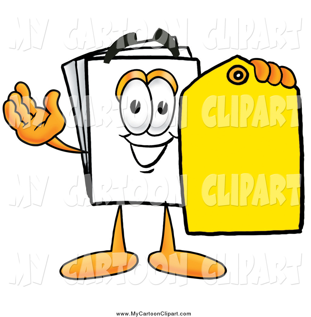 1024x1044 Clip Art Of A Paper Mascot Character Holding A Yellow Price Tag By