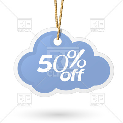 400x400 Cloud Shaped Price Tag Hanging On Rope Royalty Free Vector Clip