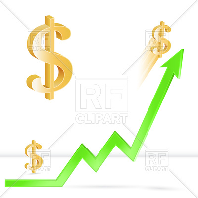 400x400 Dollar Price Up, Growth Of Dollar Exchange Rate Royalty Free
