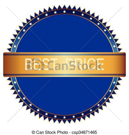 450x470 Gold Blue Best Price Badge. Vector Image. Clip Art Vector