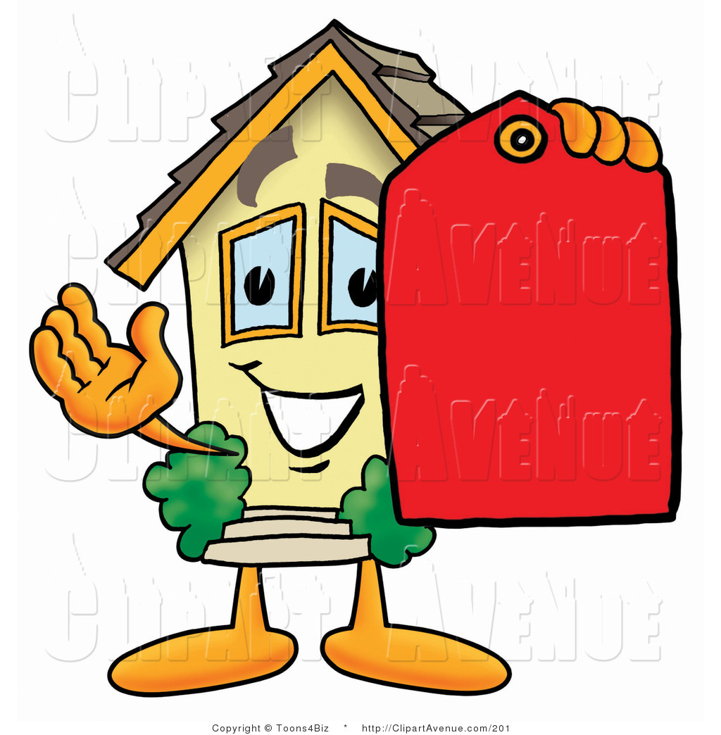 1024x1044 Avenue Clipart Of A Home Mascot Cartoon Character Holding A Red