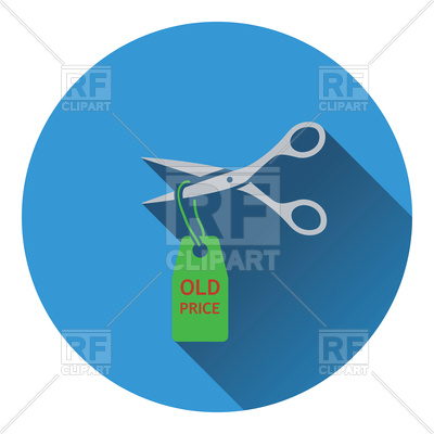 400x400 Scissors Cut Old Price Tag Icon Royalty Free Vector Clip Art Image