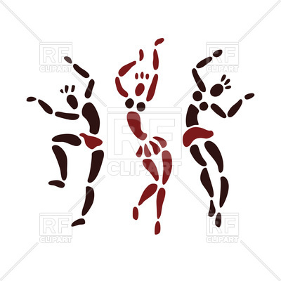 400x400 African Dancers In Primitive Art Style Royalty Free Vector Clip