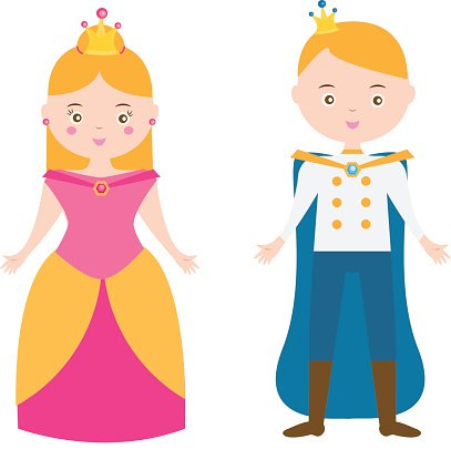 407x424 Cartoon Princess And Prince Boy, Girl In Carnival Outfit Premium