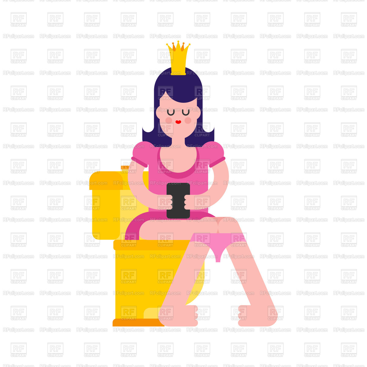 1200x1200 Princess On Toilet Royalty Free Vector Clip Art Image
