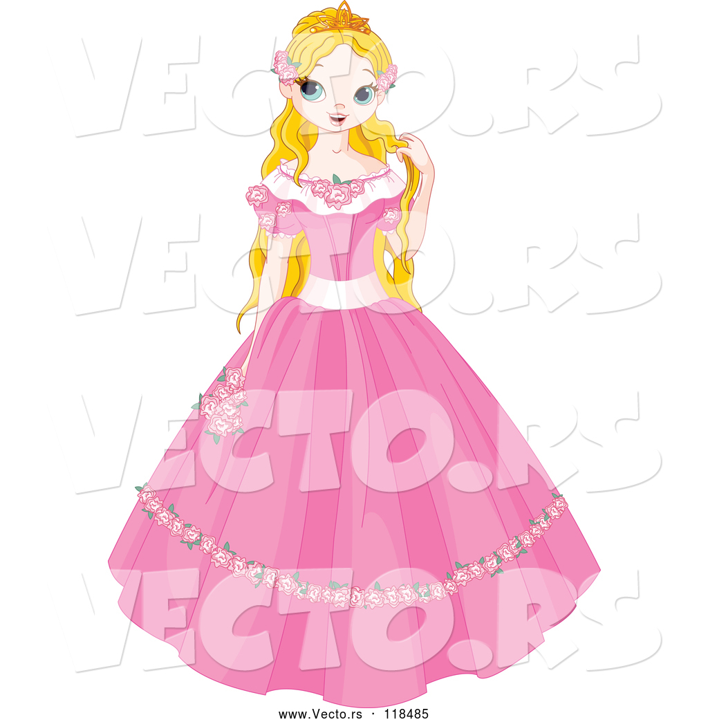 1024x1044 Vector Of A Young Cartoon Fairy Tale Princess In A Pink Dress By