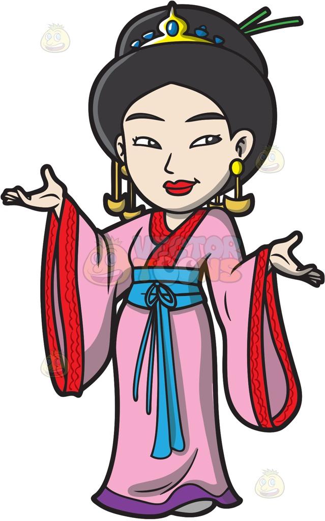 639x1024 A Japanese Princess Cartoon Clipart Vector Toons