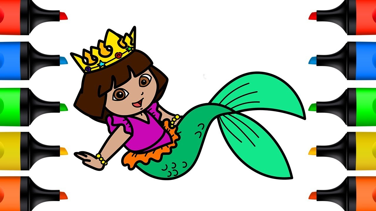 1280x720 How To Draw Princess Dora Mermaid Coloring Pages For Kids Learn