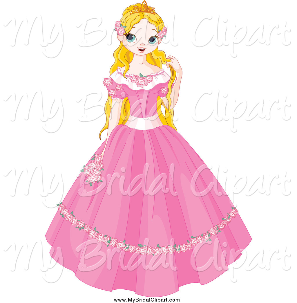 1024x1044 Bridal Clipart Of A Blond Fairy Tale Princess In A Pink Dress By