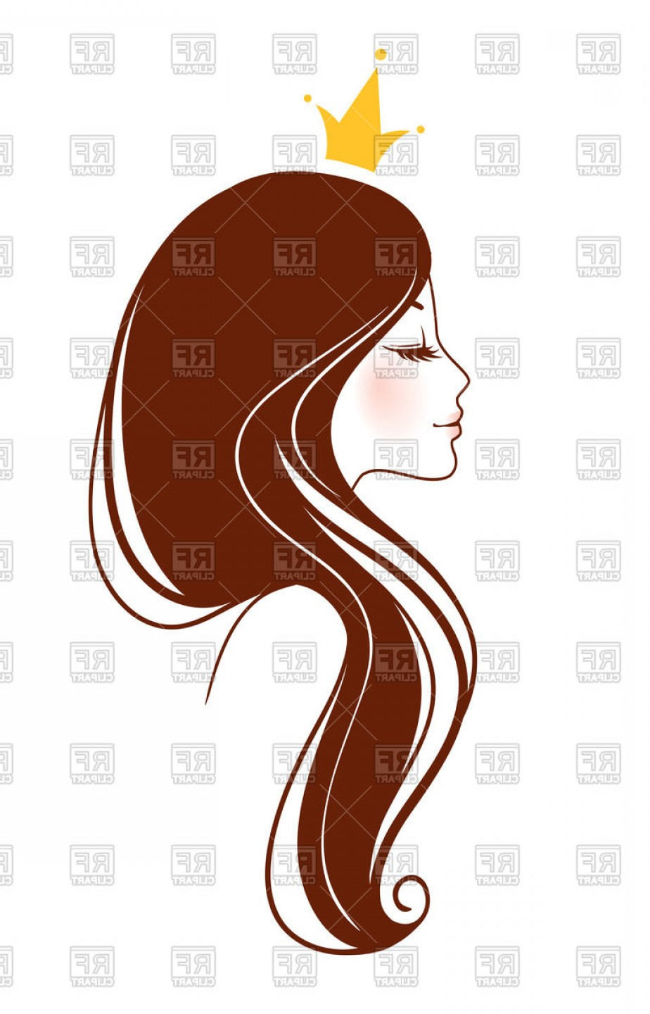924x1440 Face Of Young Beautiful Princess Profile Of Girl In Crown Vector