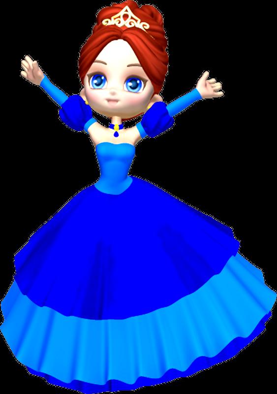 563x800 Princess In Blue Clipart