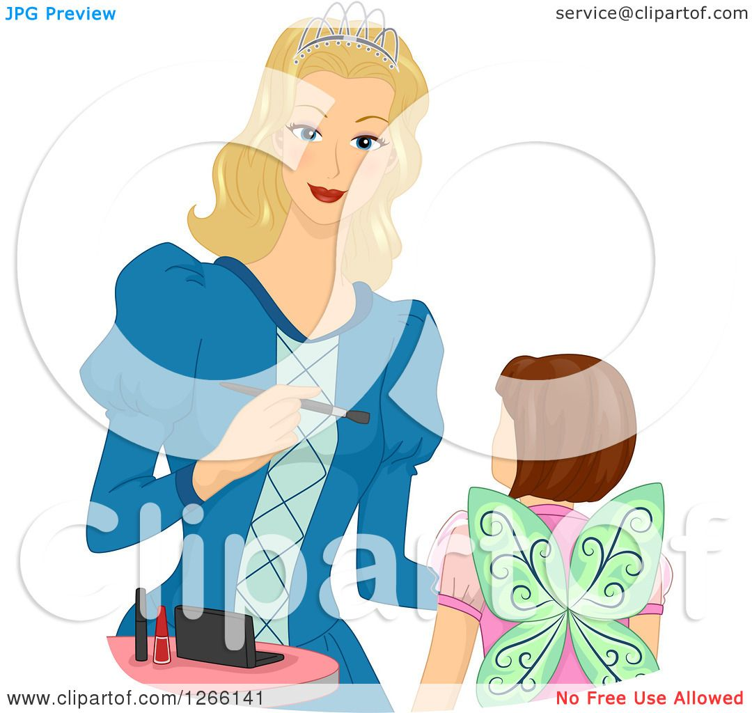 1080x1024 Clipart Of A Blond White Princess Mother Applying Halloween Fairy