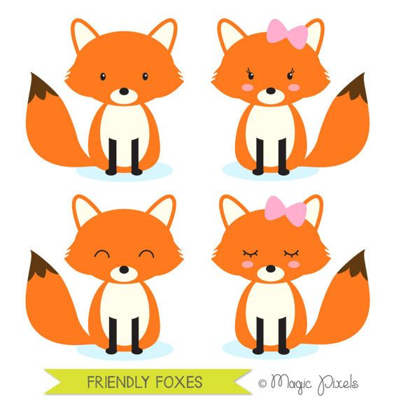 570x570 Fox Clip Art, Woodland Animals Clipart, Forest Animals Clip Art
