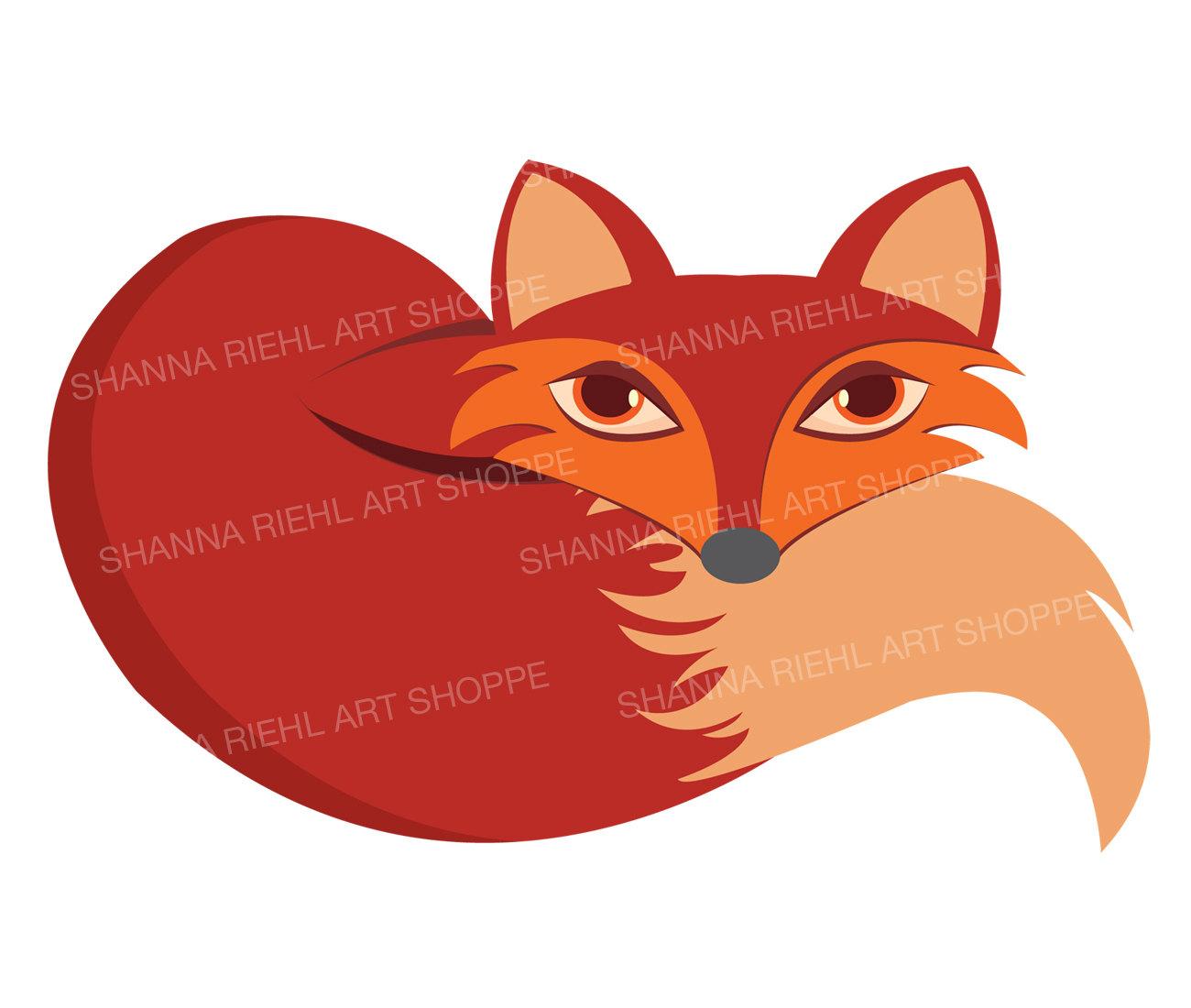 1300x1100 Sleeping Fox Clipart Fox Ears And Tail Commercial Use Digital