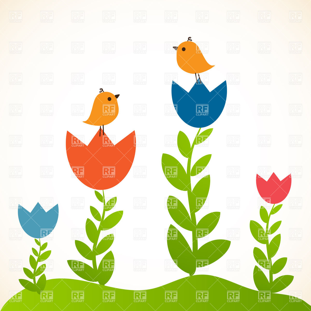 1200x1200 Cute Greeting Card With Birds On Flowers Royalty Free Vector Clip