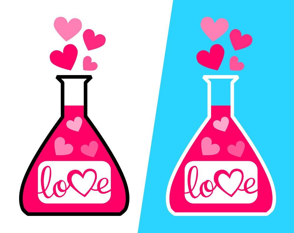 1000x794 Valentine's Day Love Potion Svg File, Love Potion Clipart Pdf