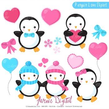 350x350 Valentines Day Penguins Clipart Scrapbook Printables Vector Clip Art