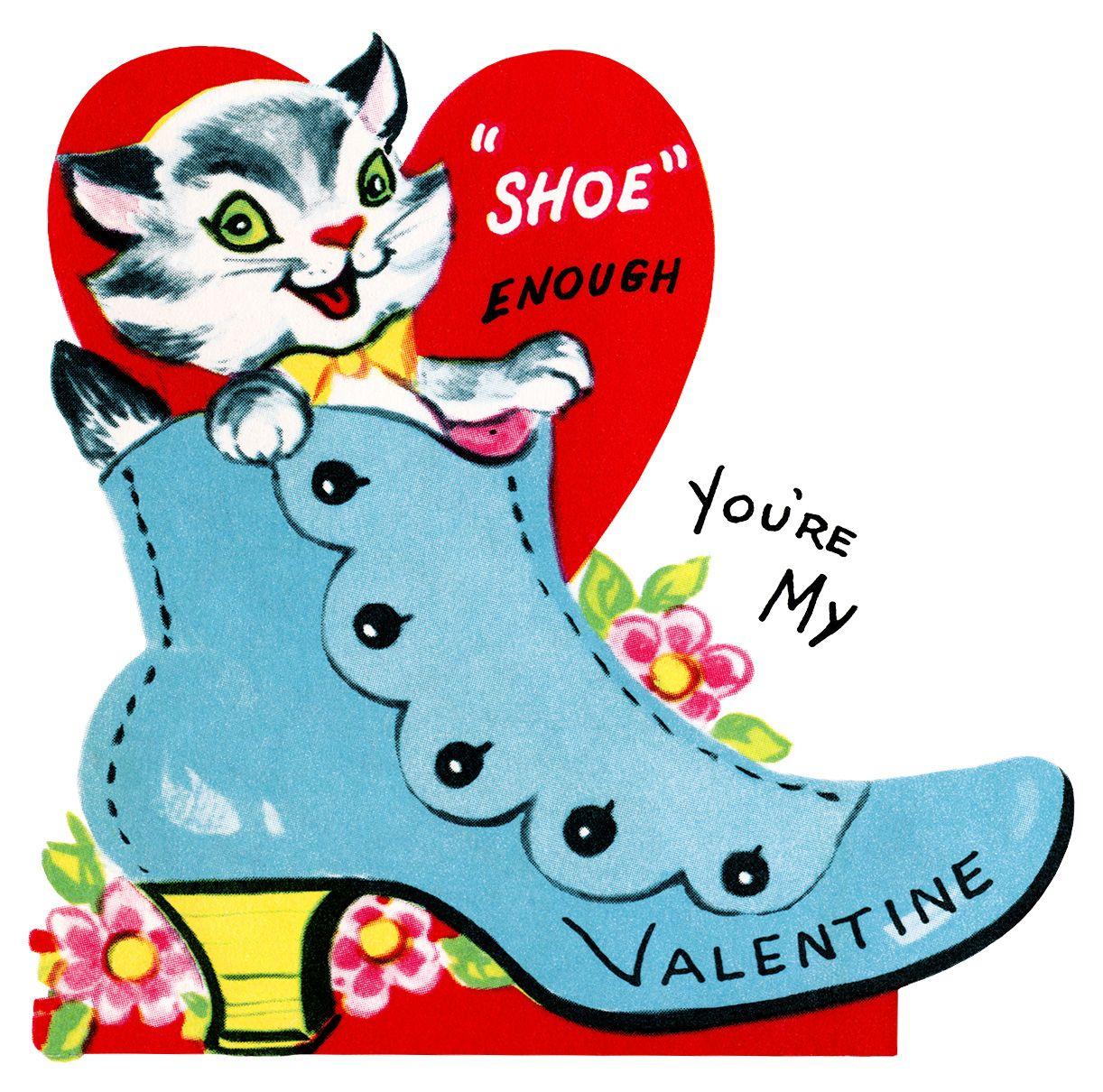 1222x1210 Kitten In Shoe Valentine, Vintage Valentine Clip Art, Retro
