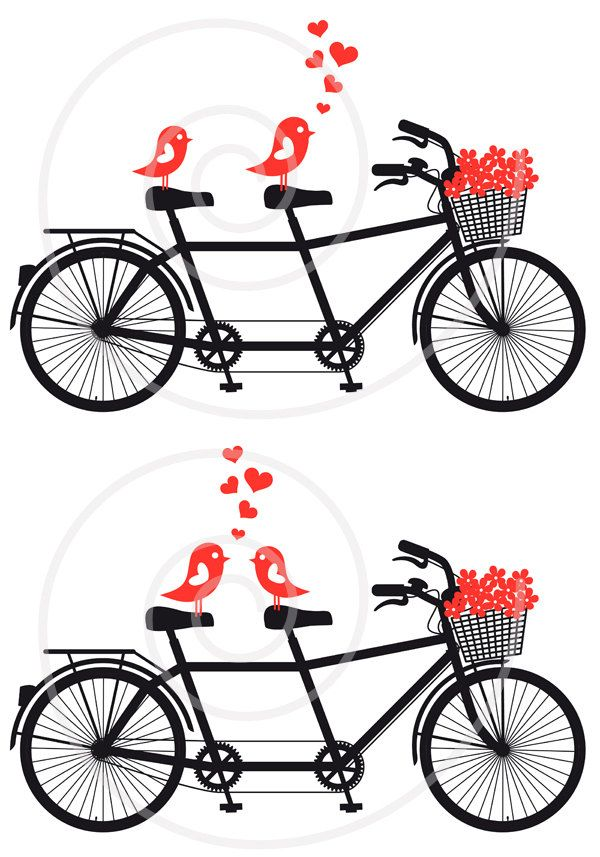 600x857 Tandem Bicycle With Cute Love Birds, Wedding Invitation