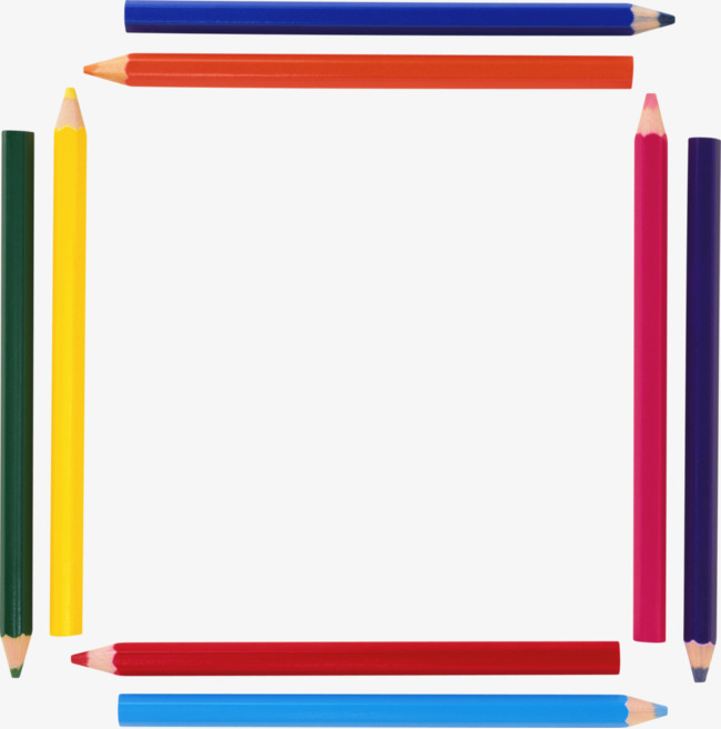 650x657 Color Pencil Border, Pencil, Lead, Hexagonal Prism Png Image