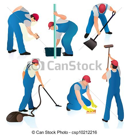 450x470 Set Of Six Professional Cleaners Vector Clip Art