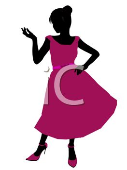263x350 Silhouette Image Of A Woman Wearing A Pink Prom Dress And Pink