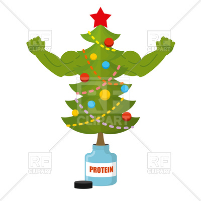 400x400 Strong Christmas Tree With Bottle Of Protein, Tree With Big