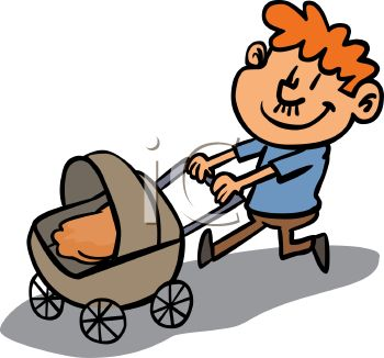 350x326 Proud Dad Pushing His Baby In A Carriage