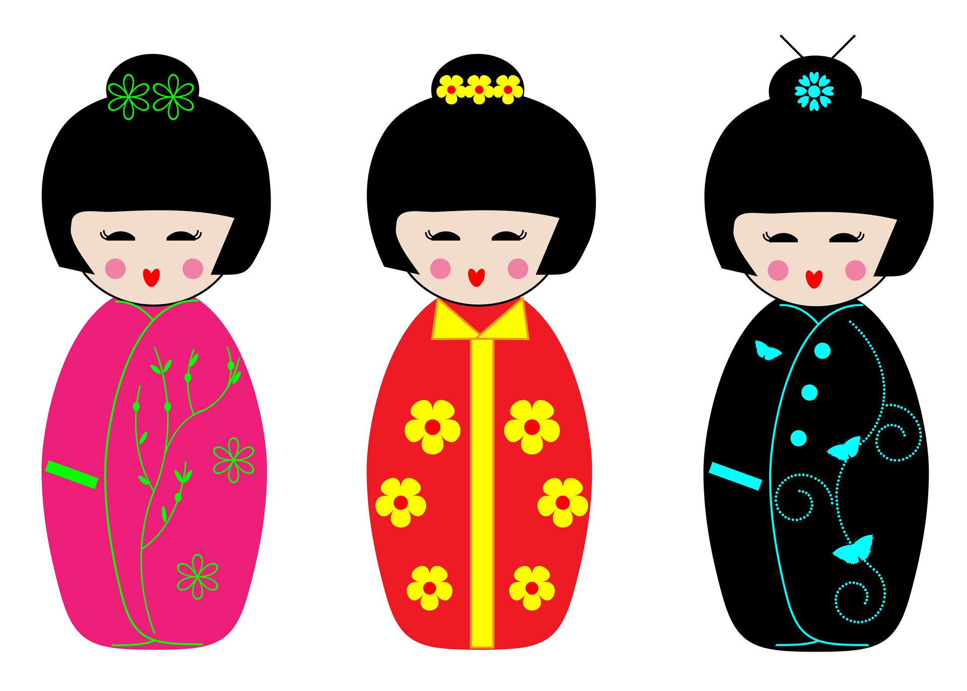 1920x1372 Kokeshi Dolls Clipart Free Stock Photo
