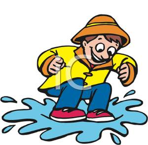300x293 Clipart Picture A Boy In A Raincoat Jumping In Puddles