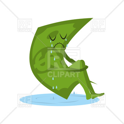 400x400 Dollar Crying. Money In Puddle Of Tears. Royalty Free Vector Clip