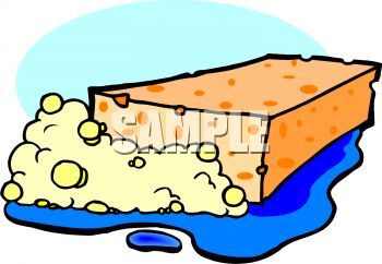 350x242 Picture Of A Sponge With Bubbles In A Puddle Of Water In A Vector