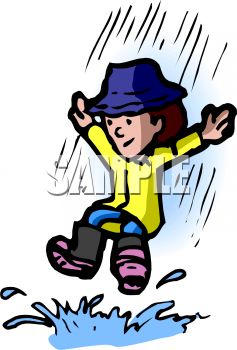 237x350 Royalty Free Clip Art Image Kid Playing In A Rain Puddle