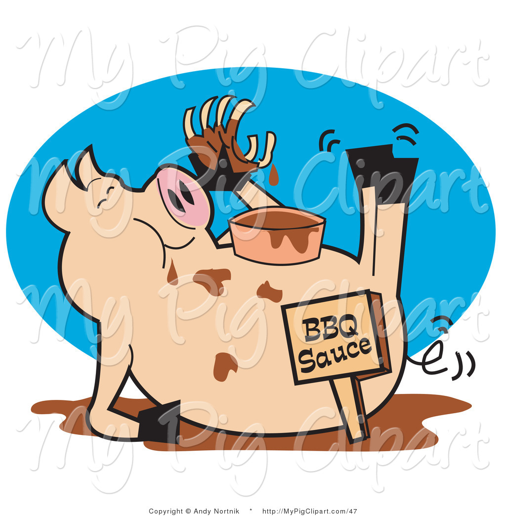 1024x1044 Vector Swine Clipart Of A Pig Eating Ribs In A Mud Puddle By Andy