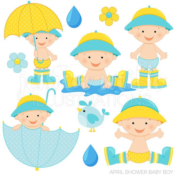 600x600 April Shower Baby Boy Cute Digital Clipart Baby Boy