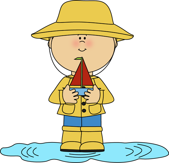 550x530 Boy In Rain Puddle With Toy Boat Clip Art