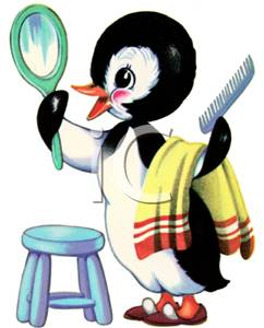 242x300 A Penguin Grooming Himself In The Mirror Clipart Picture