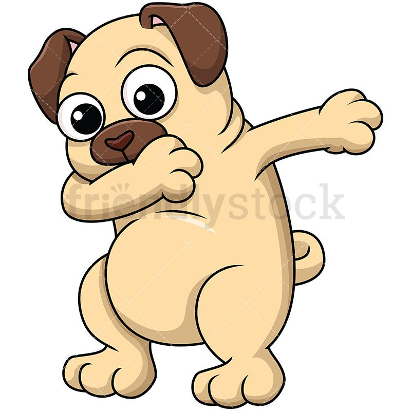 800x800 Dabbing Pug Dog Cartoon Vector Clipart