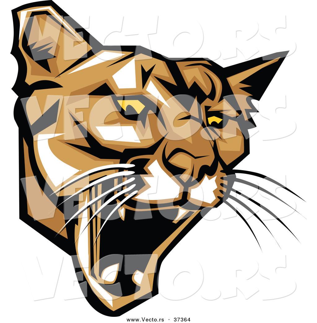 1024x1044 Vector Of A Fierce Cartoon Puma Head Roaring By Chromaco