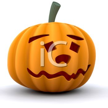 350x350 Picture Of A Carved Pumpkin On A White Background In A Vector Clip
