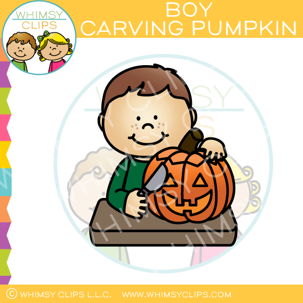 600x600 Boy Carving A Pumpkin Clip Art , Images Amp Illustrations Whimsy Clips