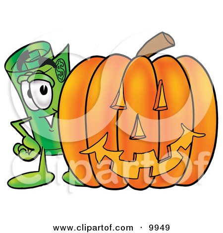 450x470 Clipart Picture Of Rolled Money Mascot Cartoon Character