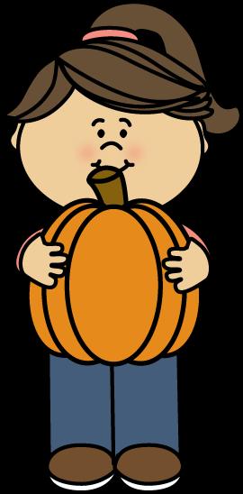 270x548 Girl Holding A Pumpkin Clip Art