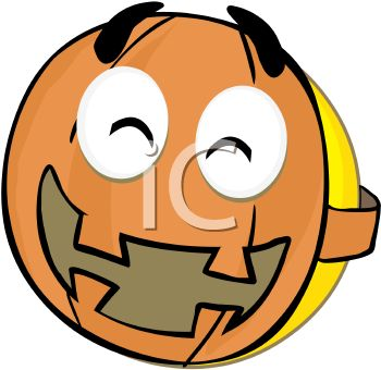 350x340 Smiley Character Wearing A Pumpkin Mask For Halloween