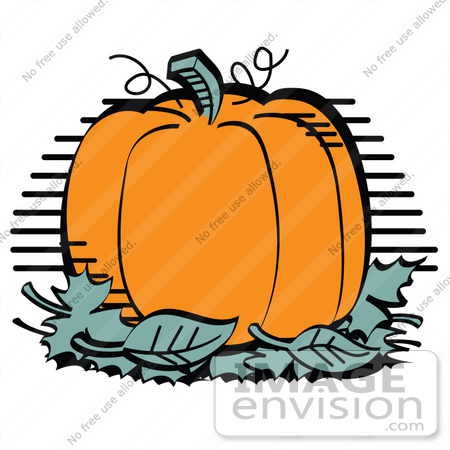 450x450 Clip Art Graphic Of A Big Orange Pumpkin With A Stem And Tendrils