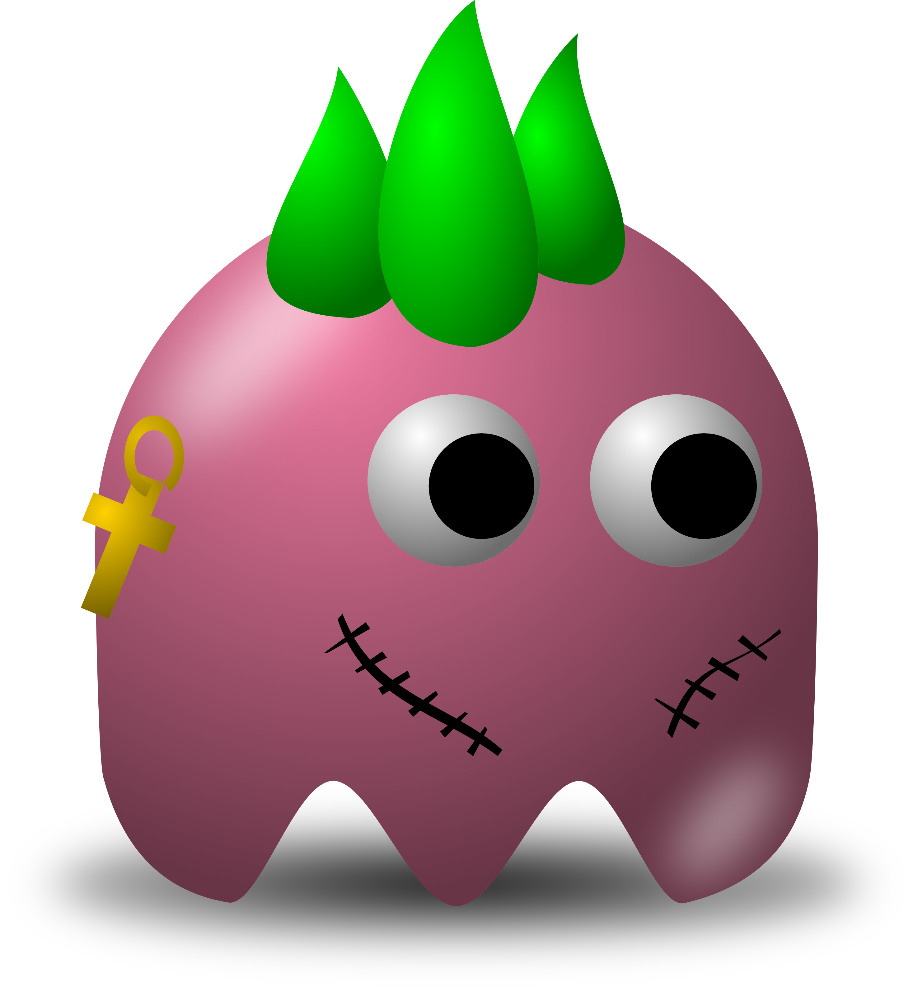 2934x3200 Pink Punk Rocker Avatar Character With Green Spikes