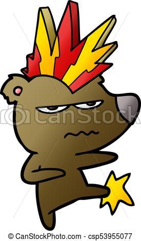 275x470 Angry Punk Bear Cartoon Kicking.