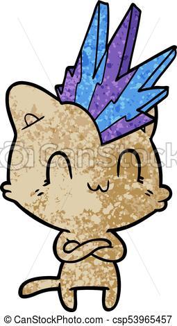 255x470 Cartoon Happy Cat Punk Clipart Vector